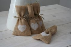 Hessian/ Burlap Wedding Favor Bags  White Heart by BreeWestwood