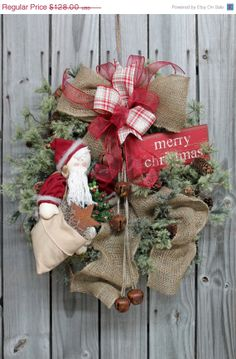 Let the Bells Ring Primitive Santa by FloralsFromHome