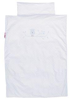Bettwäsche weiß Eule  - Material: Baumwolle - Maße: 135 x 200 cm und 80 x 80 cm - Eulen Abbildung aus Filz - Maschinenwäsche: bei 40 °C