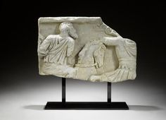 A large Roman marble sarcophagus relief fragment Circa Century A. Roman Artifacts, Anno Domini, Stone Texture, Ancient History, Archaeology, Marble, Objects, Horse, Wall