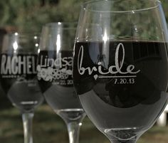 Bridesmaid+Wine+Glasses+Laser+etched+by+ScissorMill+by+ScissorMill,+$10.00