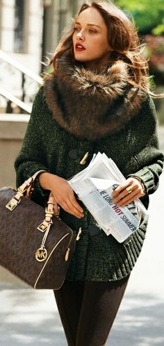 faux fur fashion tumblr | gorgeous sweater coat & faux fur scarve | Fall/Winter Fashion