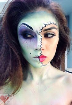 Half zombie girl make up halloween look Theatre Makeup, Makeup Salon, Makeup Art, Makeup Ideas, Geisha Makeup, Makeup Tutorials, Media Makeup, Doll Makeup, Sfx Makeup