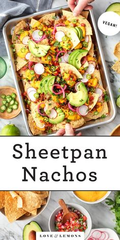 The ULTIMATE nachos recipe! These loaded nachos are topped with creamy queso, spiced taco meat, avocado, and tons of fresh fixings! The perfect appetizer for game day or any celebration. | Love and Lemons #nachos #vegan #gamedayfood #partyfood #appetizers Vegetarian Appetizers, Yummy Appetizers, Appetizer Recipes, Homemade Tacos, Homemade Taco Seasoning, Best Nacho Recipe, Vegan Queso, Healthy Snacks, Healthy Recipes