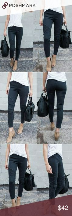 Moto Jegging with Ankle Zipper @blushonme at Poshmark   Moto Jegging with Ankle Zipper   Super stretchy. Elastic waistband   Picture color varies due to studio lighting and outside lighting.   65% Cotton / 35% Nylon / 5% spandex   PLEASE ASK QUESTIONS BEFORE BUYING. ALL SALES ARE FINAL. NO RETURNS. NO EXCHANGES. Pants Skinny