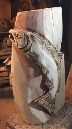 wood carving tools - 4 Stars & Up: Books Fish Wood Carving, Chainsaw Wood Carving, Tree Carving, Carving Tools, Wood Carvings, Diy Wood Projects, Wood Crafts, Wood Fish, Got Wood
