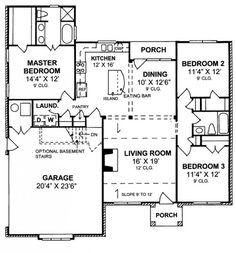 #655824 - Charming 3 Bedroom 2 Bath Cottage with split floor plan : House Plans, Floor Plans, Home Plans, Plan It at HousePlanIt.com