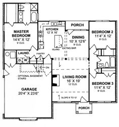 #655824 - Charming 3 Bedroom 2 Bath Cottage with split floor plan : House Plans, Floor Plans, Home Plans, Plan It at HousePlanIt.com