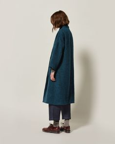WOOL ALPACA LONG COAT | Wool alpaca twill bouclé. Italian-woven. Easy, straight cut. Grown-on collar. Dropped shoulders. Concealed button placket - the top horn button showing. Two deep patch pockets.