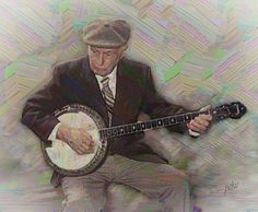 The Old Banjo Player - (Third painted version!) Wasn't sure if he was playing for tips; for the entertainment of others; or simply because he enjoyed it so much. His repertoire consisted of songs crossing generations mixed with numbers that only someone of his era might possibly know.