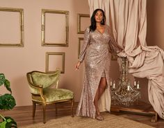 #Sequin Wrap-Like V-Neck #Gown