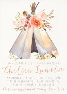 Celebrate your special event with this unique invitation! Boho Baby Shower Invitation, Girl, Printable, Tribal, Aztec, Floral, Teepee, Bohemian