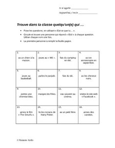 "This ""find someone who"" activity is a non-threatening beginning of the year verbal class activity. It is a Word document and can be easily edited . Great Icebreakers, Icebreaker Activities, Fun Classroom Activities, French Teacher, Teaching French, People Bingo, French Education, French People, French Walls"