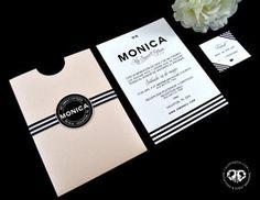 Elegant Quinceañera invitation, sweet sixteen, seet 16, nude, stripes, black and…