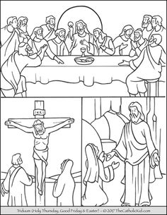 Help children learn the Tridumm with this coloring page. From the USCCB: http://www.usccb.org/prayer-and-worship/liturgical-year/triduum/ The summit of the Liturgical Year is the Easter Triduum—from the evening of Holy Thursday to the evening of Easter Sunday. Though chronologically three days, they are liturgically one day unfolding for us the unity of Christ's Paschal Mystery. The single celebration of …