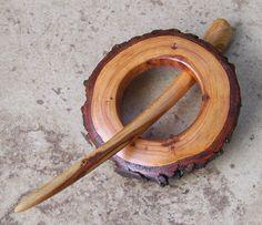 Rustic Tree Branch Shawl Pin/Hair Stick Set - Cherry Wood - Great Gift Item - 278. $24.99, via Etsy.