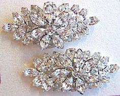 Wedding accessories, Bridal Shoe Clips, Vintage Style, Rhinestone shoe clips, Flower shoe clips for Wedding Shoes. $39.50, via Etsy.