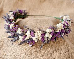 "Les Deux Violet Flower Crown Lavender, Babies Breath, Ageratum 20"" by MoonBloomFloral on Etsy https://www.etsy.com/listing/228410902/les-deux-violet-flower-crown-lavender"