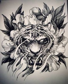 "536dc7fa9 David Hoang on Instagram: ""Tiger and peony #sketch #drawing #illustration  #sketchbookpro #ipadpro #irezumi #chronicink #asianink #tattoo#irezumi ..."