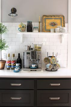 Diy kitchen coffee station fall nesting pretty mugs fancy coffee station home design ideas for small . Coffee Station Kitchen, Coffee Bar Home, Home Coffee Stations, Coffee Corner, Coffee Bars, Corner Nook, Coffee Maker, Coffee Shop, Tea Station