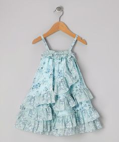 Take a look at this Light Blue Ruffle Dress - Infant & Toddler by P'tite Môm on #zulily today! $21.99