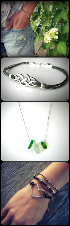 treble clef, celtic, seaglass, big hearts...#bracelets and necklaces from JewelryByMaeBee on #Etsy. #sfetsy www.jewelrybymaeabee.etsy.com