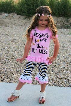 """Jesus Loves This Little Hot Mess"" Black & White Stripe Ruffle Capri Set"
