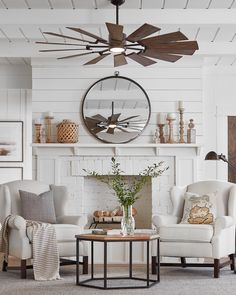 Monte Carlo Prairie 1 LED Light 62 Inch Ceiling Fan In Aged Pewter With 14 Light Grey Weathered Oak Blade And Frosted White Shade Decor, Farmhouse Decor Living Room, Home Living Room, Farm House Living Room, Room Design, Windmill Ceiling Fan, Farmhouse Interior, Home Decor, Country Living Room
