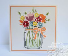 handmade card from Lady & the Stamp: Mason Jar Flowers ... square format ... nice touch of mat and ribbon in the same color to tie things together ... Stampin' Up