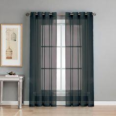Window Elements Sheer Sheer Elegance 84 in. L Grommet Curtain Panel Pair, Black (Set of 2)