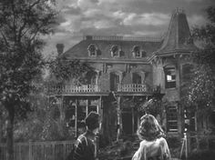 "George Bailey's ""drafty old house"" in It's a Wonderful Life (above) was part of the sprawling Bedford Falls set covering 4 acres on RKO Studios' back lot. Sadly, it was razed in the 1950s."