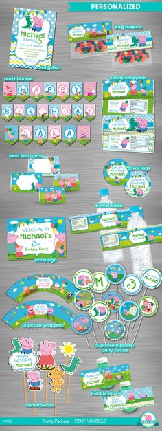George Pig Peppa Pig Party Package by berryniceprintables on Etsy                                                                                                                                                                                 More