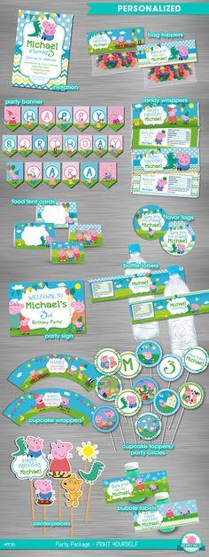 George Pig Peppa Pig Party Package by berryniceprintables on Etsy Más