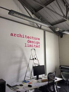Our new office logo is up today in lovely retro courier via @adesignlimited
