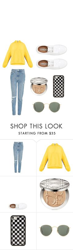 """""""Untitled #1"""" by jzayia ❤ liked on Polyvore featuring Topshop, Acne Studios, Christian Dior, Wildflower and Ray-Ban"""