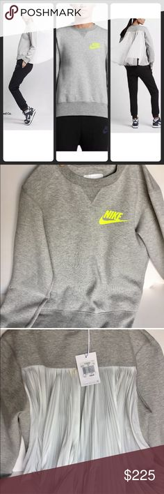 Nike lab Sacai X Tech Fleece Sweatshirt Gray w/bag This NikeLab x sacai Tech Fleece long sleeve Women's is NEW WITH TAGS and has never been worn.  This Sweatshirt disrupts a classic jersey style with ultra-light pleating that responds to your movements.  Size - XS  BENEFITS Soft, cotton blend fleece provides warmth without weight  Durable rib V-neck and cuffs  On-seam front pockets  PRODUCT DETAILS Fabric: Body: 66% cotton/43% polyester. Lower back panel: 100% polyester. Pocket bags/upper…