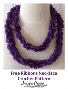 Ribbons Necklace Free Crochet Pattern from Maggie's Crochet