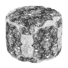 """Title : 40, Bling B&W, Skull wth Damask Background Print Pouf  Description : My Customized Designs are Flat Prints, placed on Fabrics and/or other surfaces. Maximizing, Shadowing, and Visual Volume to create Depth, and Dimension. I create the Design and each product has its own description. """"Bling-Bling"""", """"Preppy-Fashions"""", """"Girly-Chic"""", """"Hip-Hop-Style"""", """"Fashion-Accents-Accessories"""", Monograms, """"Sparkle-Glitter-Shine"""", """"Jewels-Jewelry"""", Diamonds, """"Faux-Gemstones"""", Metallic, """"Iced-Ou..."""