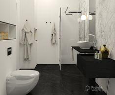 Łazienka tapeta biało czarna we wzory - aranżacja | PROJEKT WNĘTRZE Toilet, Bathroom, Washroom, Litter Box, Bathrooms, Flush Toilet, Powder Room, Powder Rooms, Bath