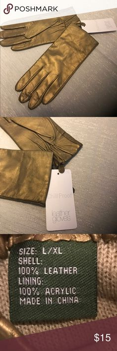 NWT Gold Leather Gloves ~ Chill Proof NWT gloves are warm and fashionable. Size XL. Chill proof. Accessories Gloves & Mittens