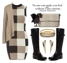 """no one can make you feel inferior without your consent"" by queenrachietemplateaddict ❤ liked on Polyvore featuring AX Paris, Lands' End, My Flat In London, Blondo, Alexis Bittar, quotes, cardigan, Kneehighboots and checkereddress"