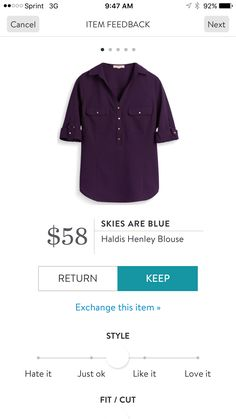 Skies Are Blue Haldis Henley Blouse - I have this in navy. It's probably my all-time favorite item from Stitch Fix. I'd LOVE it in another solid color!