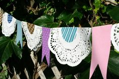 Cool idea for a homemade paper doily bunting