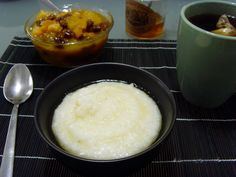South Africa - Maize Porridge with Fruit Compote. Suggested to use white Spanish corn meal.