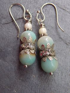 Antique Silver ear wires dangling with...    ~Green Amazonite Gemstones  ~Crystal oxidized rhinestones  ~White Czech Beads  ~Antique silver