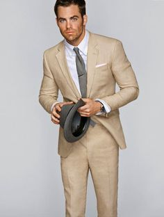 a more casual wedding suit Casual Wedding Suit, Summer Wedding Suits, Summer Suits, Mens Khaki Suit, Khaki Suits, Mens Suits, Modern Gentleman, Gentleman Style, Gentleman Fashion