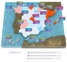 Mapa + índice Imie (refleja el valor de los productos residenciales españoles dividiendo el territorio geográficamente por Comunidades Autónomas y Provincias. El índice, recoge la valoración del valor del m2 de un inmueble) mercado locales 4 trim 2012 #tinsa #vivienda