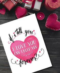 Valentines Greeting Card Printable, Valentines Digital Card, Romantic DIY Valentine Love Card, Anniversary Card, Pink Heart Instant Download