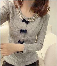 Sweet Style Faux Pearl Neck Bowknot Embellished Long Sleeve Slimming Knitwear For Women (LIGHT GRAY,ONE SIZE) China Wholesale - Sammydress.com