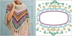 Imagini pentru crochet round neck yoke chart for all sizes from baby to an adult woman? Southern Diamonds Poncho Stitch Diagram Rounds by ELK Poncho Au Crochet, Crochet Poncho Patterns, Shawl Patterns, Crochet Chart, Crochet Scarves, Crochet Clothes, Crochet Stitches, Free Crochet, Knitting Patterns